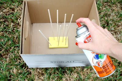 Spray Painting Dowels