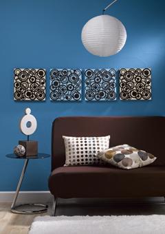 decoracao azul e marrom