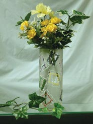 Etched Glass Floral Vase