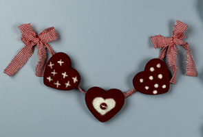 Needlefelted Hearts Wall Decor