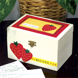 Strawberry Wood Recipe Box