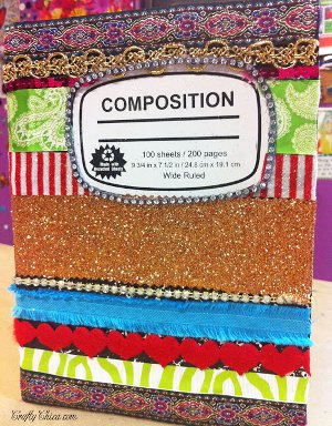 Craft Ideas Leftover Fabric on Materials One Blank Journal Assorted Trims Crystal Trim Craft Knife