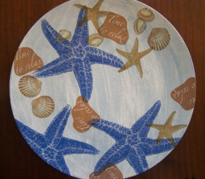 Decoupaged Sea Shell Plate