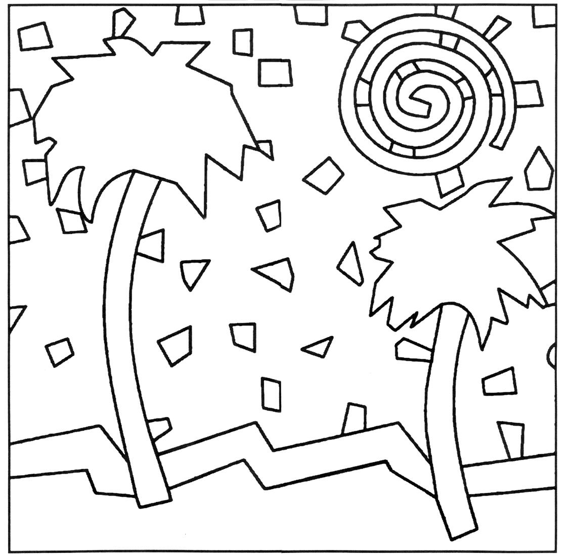 Free Simple Roman Mosaic Colouring Pages