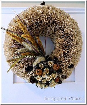 rustic coffee filter wreath