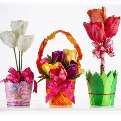 decoupage spring flower pots