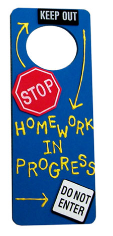 Homework Painted Door Hanger