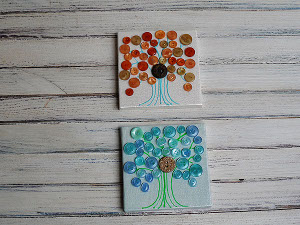 Mini Button Canvas Trees