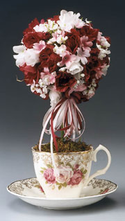 Red and Pink Teacup Topiary