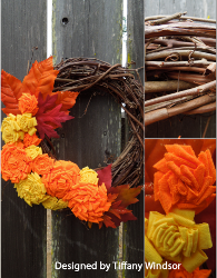 Fall Fabric Flower Wreath
