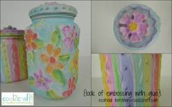 Faux Embossed Glass Jars