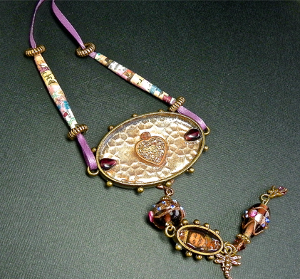 Beaded Mixed Media Pendant