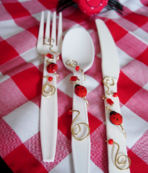 Wire Wrapped and Beaded Picnic Utensils