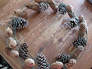 Beautiful Black Pine Cone Wreath