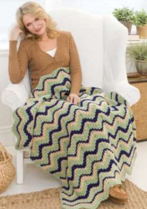 Crochet Ripple Three-Color Afghan