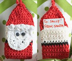 Crochet Santa Gift Tag