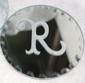 Etched Monogram Mirror Coasters
