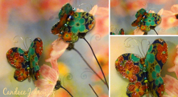 Fabric and Glitter Butterfly Pins