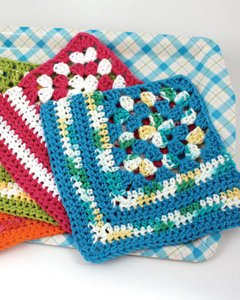 Crochet Granny Square Dishcloth Pattern : Granny Crochet Dishcloth FaveCrafts.com