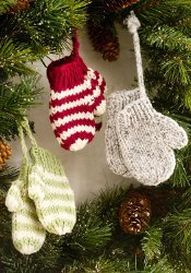 Knit Mittens as Ornaments