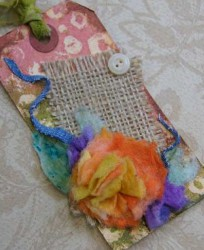 Vintage Inspired Baby Wipe Flower Tag
