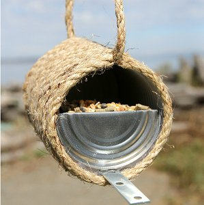 Rustic Rope and Can Bird Feeder