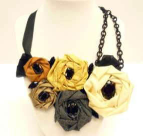 Roses, Ribbon and Chain Necklace
