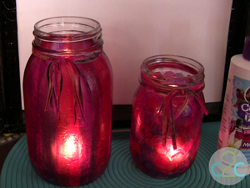Girly Pink Collaged Mason Jars