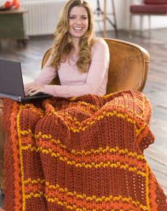 Burnt Orange Striped Throw