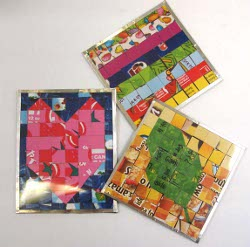 Mosaic Coasters from Cereal Boxes