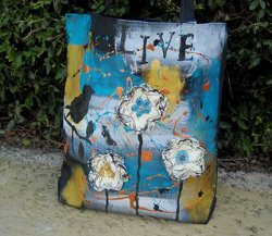 Drip Art Canvas Tote