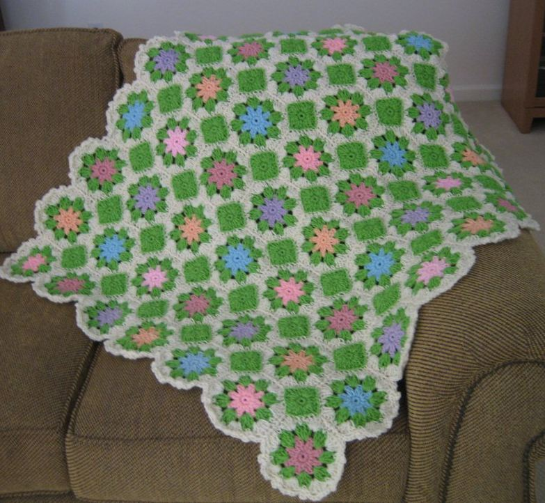Pastel Multi Colored Floral Afghan