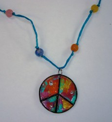 Recycled Pizza Peace Pendants