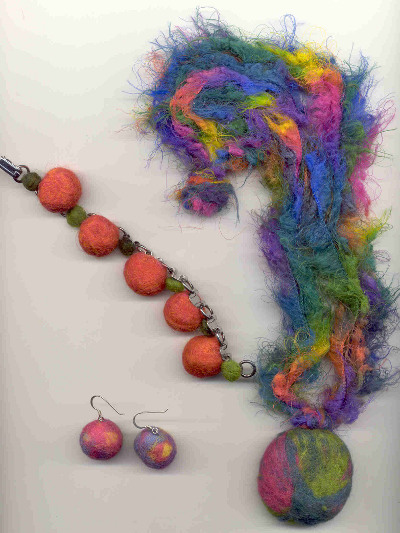 Wet Felted Ball Jewelry