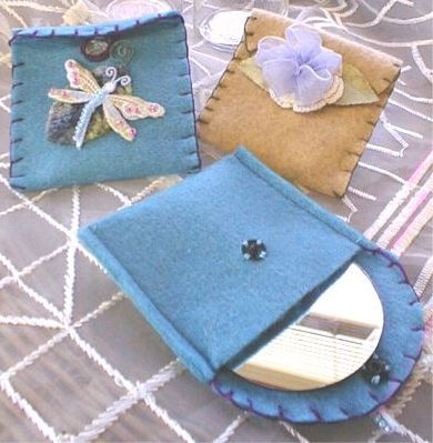 Sewn Felt Pouch with Embellishment