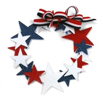 Red White and Blue Star Wreath