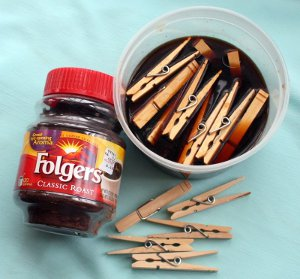 Coffee Colored Vintage Clothespins