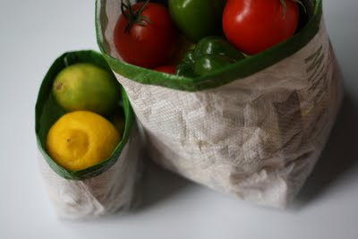 Fruit and Veggie bag recycled from bird seed bag