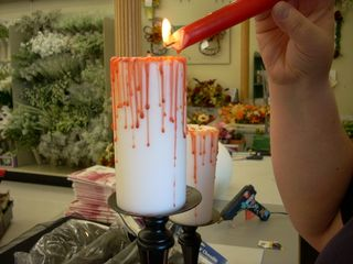 Homemade Halloween Decorations: Bloody Candle