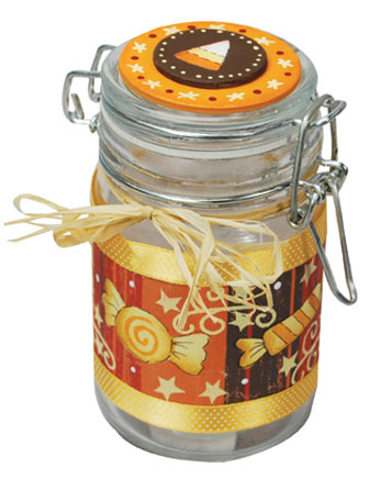 Painted Glass Candy Jar
