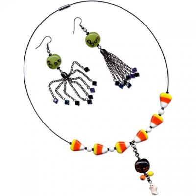 Candy Corn Necklace and Boo Earrings