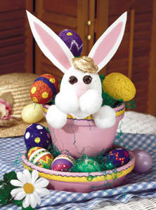 Fun Easter Bunny Painted Pot