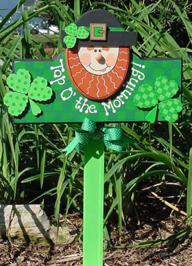Top O' the Morning Leprechaun Greeting Sign