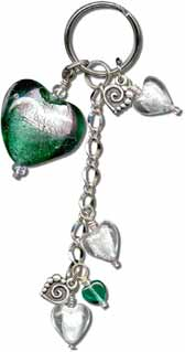 Green Hearts Key Ring Fob