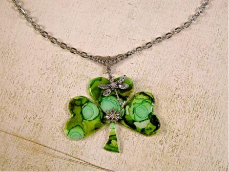 Green Clover Necklace Pendant