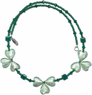Green and Silver Shamrock Necklace