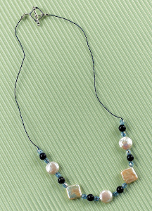 Geometric Gemstone and Pearl Knot Necklace