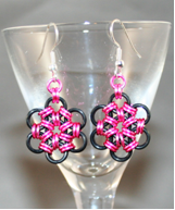 Pink Metal Flower Earrings