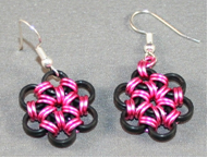 Pink Metal Flower Earrings Finished