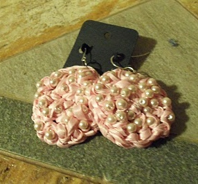 Crochet Ribbon and Pearl Earrings